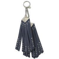 MICHAEL KORS 鉚釘流蘇牛皮鑰匙吊飾.海軍藍