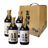 【豆油伯】好美滿釀造醬油禮盒組-美滿500mlX2瓶、美好500mlX2瓶