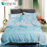 AGAPE亞加•貝 -俏點鯨兒 吸濕排汗法式天絲標準雙人5尺四件式兩用被套床包組/床包加高35cm