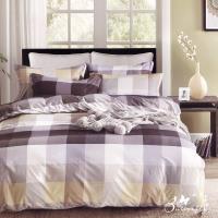 BUTTERFLY-台製柔絲絨標準雙人薄式床包枕套三件式-格子時代