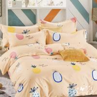 BUTTERFLY-台製柔絲絨標準雙人薄式床包枕套三件式-夏日鳳梨