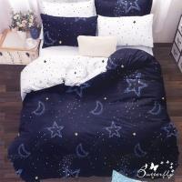 BUTTERFLY-台製柔絲絨標準雙人薄式床包被套組-星月神話-藍