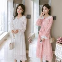【REKO】清新甜美花邊蕾絲高腰長裙-S-2XL(共二色)