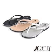 Pretty 雙彩水鑽平底夾腳拖鞋BA-2A702