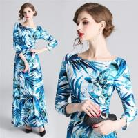 【M2M】簡約大方水藍色清新印花洋裝S-2XL