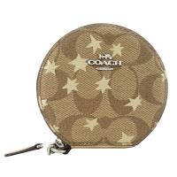 COACH 馬車C LOGO星星楓葉PVC鍊帶手掛零錢包(卡其)