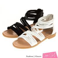 Love Girl 羅馬線條交叉環踝平底涼鞋
