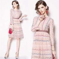 【M2M】小香風復古長袖蕾絲洋裝M-2XL