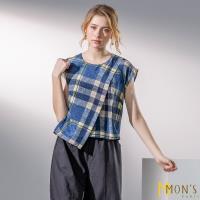 MONS國際專櫃沁涼100%蠶絲格紋上衣