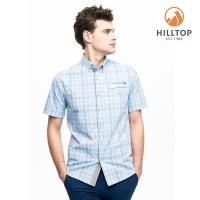 【hilltop山頂鳥】男款吸濕快乾抗UV短袖襯衫S06M66淺藍紫格紋