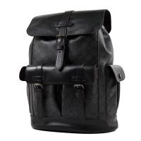 COACH 男款 緹花LOGO防刮皮革翻蓋書包釦束口後背包-黑色