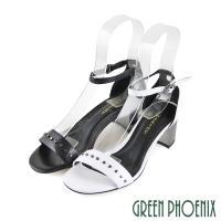 GREEN PHOENIX 鉚釘繞踝皮釦全真皮粗高跟涼鞋U21-29021