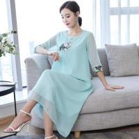【REKO】中國風雅致圓領刺繡洋裝S-2XL(共四色)