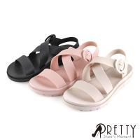 Pretty 素面交叉線條圓形皮釦防水涼鞋/雨鞋B-21788