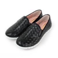 RoseLin 真皮編織套式懶人鞋 黑 女鞋 鞋全家福