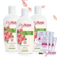 保加利亞My rose玫瑰彈潤亮澤潤膚乳液250ml超值三入(贈花香精粹沐浴隨身包6包)