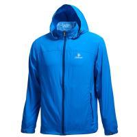 【Wildland 荒野】男彈性透氣抗UV輕薄外套中藍色