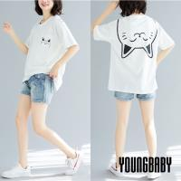 【YOUNGBABY中大碼】貓咪假領巾印花口袋棉T.黑/白