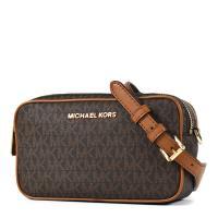 MICHAEL KORS 金字緹花LOGO雙層拉鍊寬背帶相機包-咖啡色