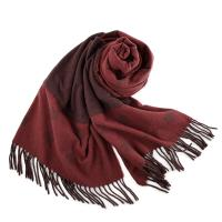 COACH 厚實感雙口袋羊毛流蘇圍巾-酒紅色