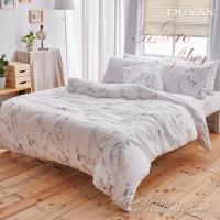 DUYAN竹漾- 台灣製天絲絨雙人加大四件式舖棉兩用被床包組-大理石狂熱者