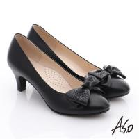 A.S.O 氣質名媛 全真皮雙蝴蝶結甜美高跟鞋- 黑