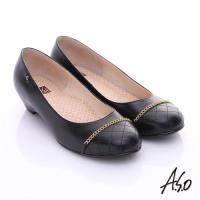 A.S.O 3E舒活寬楦 全真皮拼接菱格奈米窩心低跟鞋- 黑