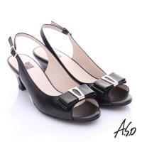 A.S.O 氣質名媛 甜美雙蝴蝶結飾魚口涼鞋- 黑