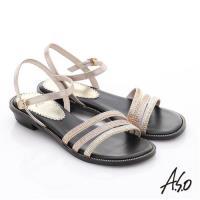 A.S.O 完美涼夏 真皮閃亮鑽飾細條帶涼鞋- 粉橘