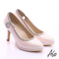A.S.O 甜蜜樂章 金蔥亮布側縷空鑽飾高跟鞋- 粉紅