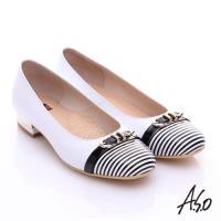 A.S.O 3E舒活寬楦 全真皮奈米條紋皮飾帶低跟鞋- 白