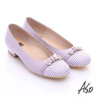 A.S.O 3E舒活寬楦 全真皮奈米條紋皮飾帶低跟鞋- 淺紫