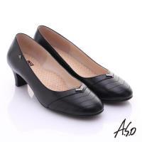 A.S.O 舒活寬楦 全真皮桃子口奈米粗跟鞋- 黑