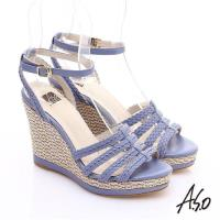 A.S.O 完美涼夏 真皮手工編織楔型涼鞋- 紫