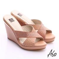 A.S.O 璀璨注目 牛皮交叉帶楔型涼拖鞋- 粉橘