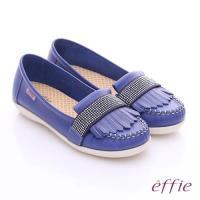 effie 縫線包仔鞋 牛皮流蘇水鑽織帶奈米休閒鞋- 藍