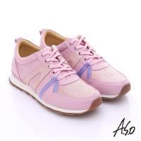 A.S.O 輕量抗震 牛皮拼接絨面金箔奈米綁帶休閒鞋- 粉紅