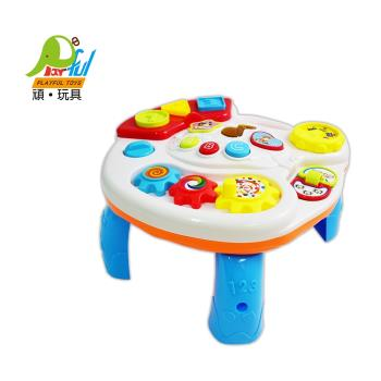 Playful Toys 頑玩具 嬰兒音樂學習桌3901(兒童樂器 翻翻樂 齒輪轉動 嬰兒學習桌 方便收納 好攜帶 頑玩具)