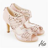 A.S.O 炫麗魅惑 全真皮鏤空弧形高跟魚口鞋 粉紅