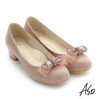A.S.O 璀璨注目 真皮蝴蝶結飾釦奈米窩心低跟鞋- 粉紅