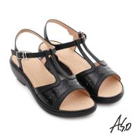 A.S.O 挺麗氣墊 全真皮寬楦鏤空氣墊楔型涼拖鞋- 黑