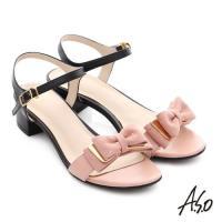 A.S.O 南法香頌 金屬異材質混搭蝴蝶結粗低跟涼鞋- 粉紅