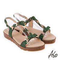 A.S.O 希臘渡假 蝴蝶結鍊飾全真皮羅馬休閒涼鞋- 綠色