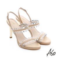A.S.O 星光注目 璀璨水鑽飾釦高跟涼鞋- 米