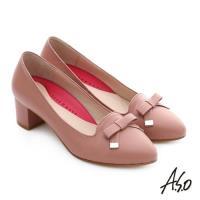 A.S.O 職場女力 綿羊皮蝴蝶結3D窩心中跟鞋- 粉紅