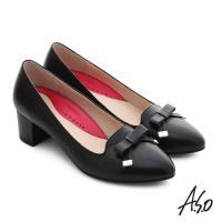 A.S.O 職場女力 綿羊皮蝴蝶結3D窩心中跟鞋- 黑