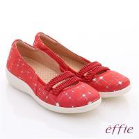 effie 挺麗氣墊 真皮絨面鬆緊帶奈米氣墊鞋 正紅
