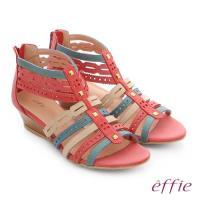 effie 嬉皮假期 小坡跟彩色羅馬楔型涼鞋- 桃粉紅