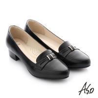 A.S.O 舒適通勤 真皮蝴蝶結奈米低跟鞋- 黑