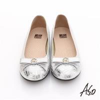 A.S.O 奢華美型 真皮金屬圖騰結飾平底鞋 銀